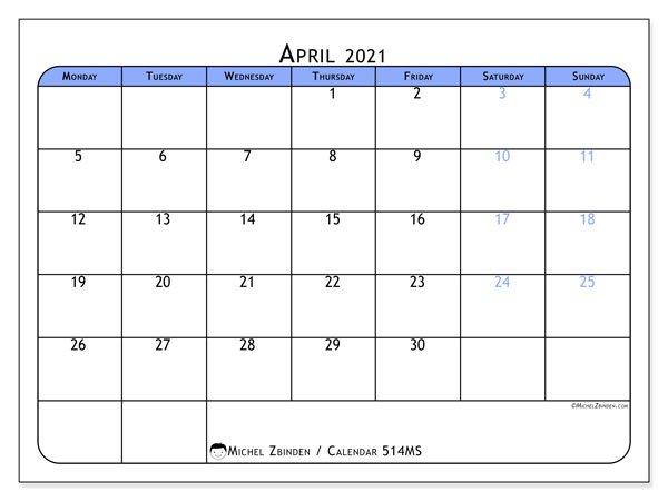 "April 2021 Calendars ""Monday - Sunday"" - Michel Zbinden En April Callendar I Can Edit"