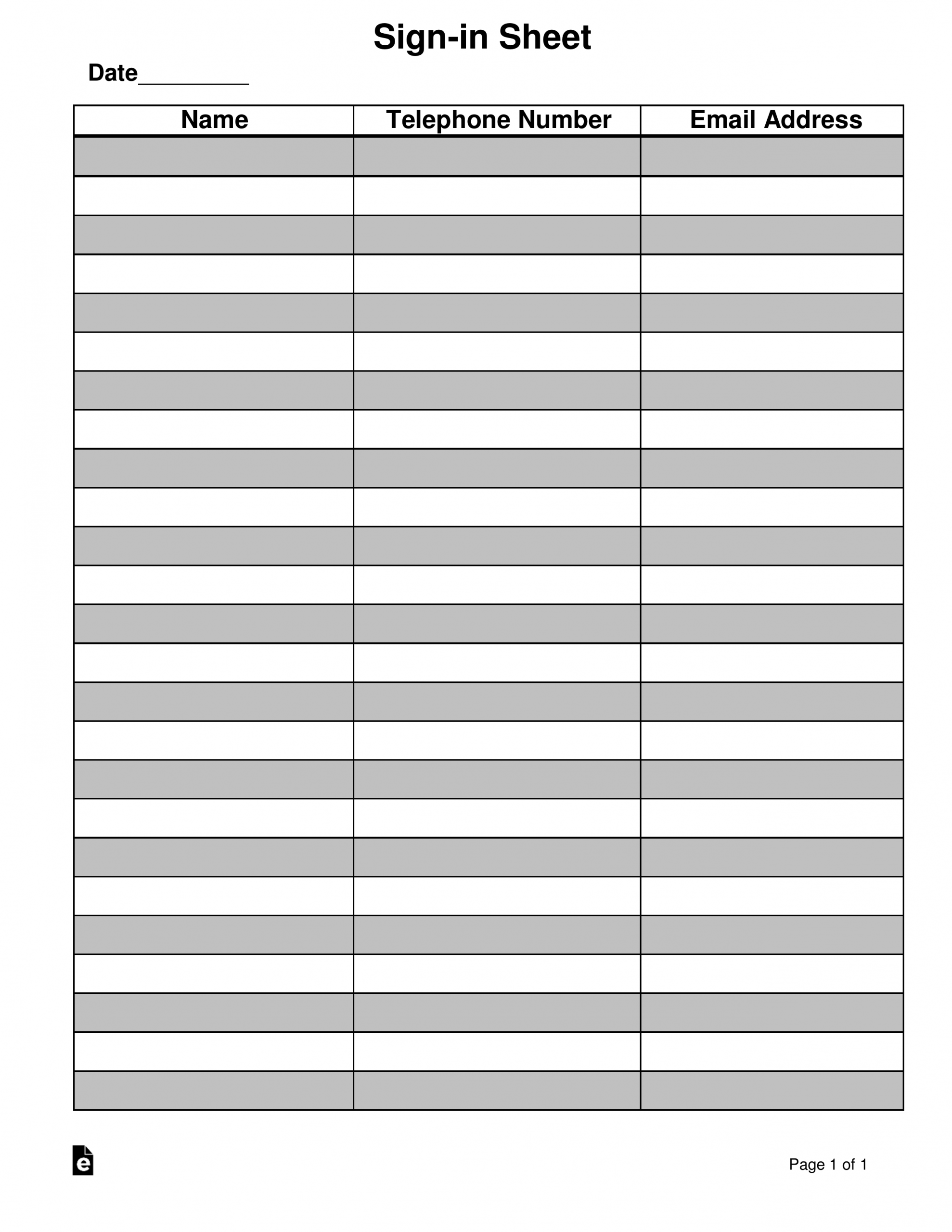 Attendance/Guest Sign-In Sheet Template   Eforms - Free On Callalendar Sign Up Template