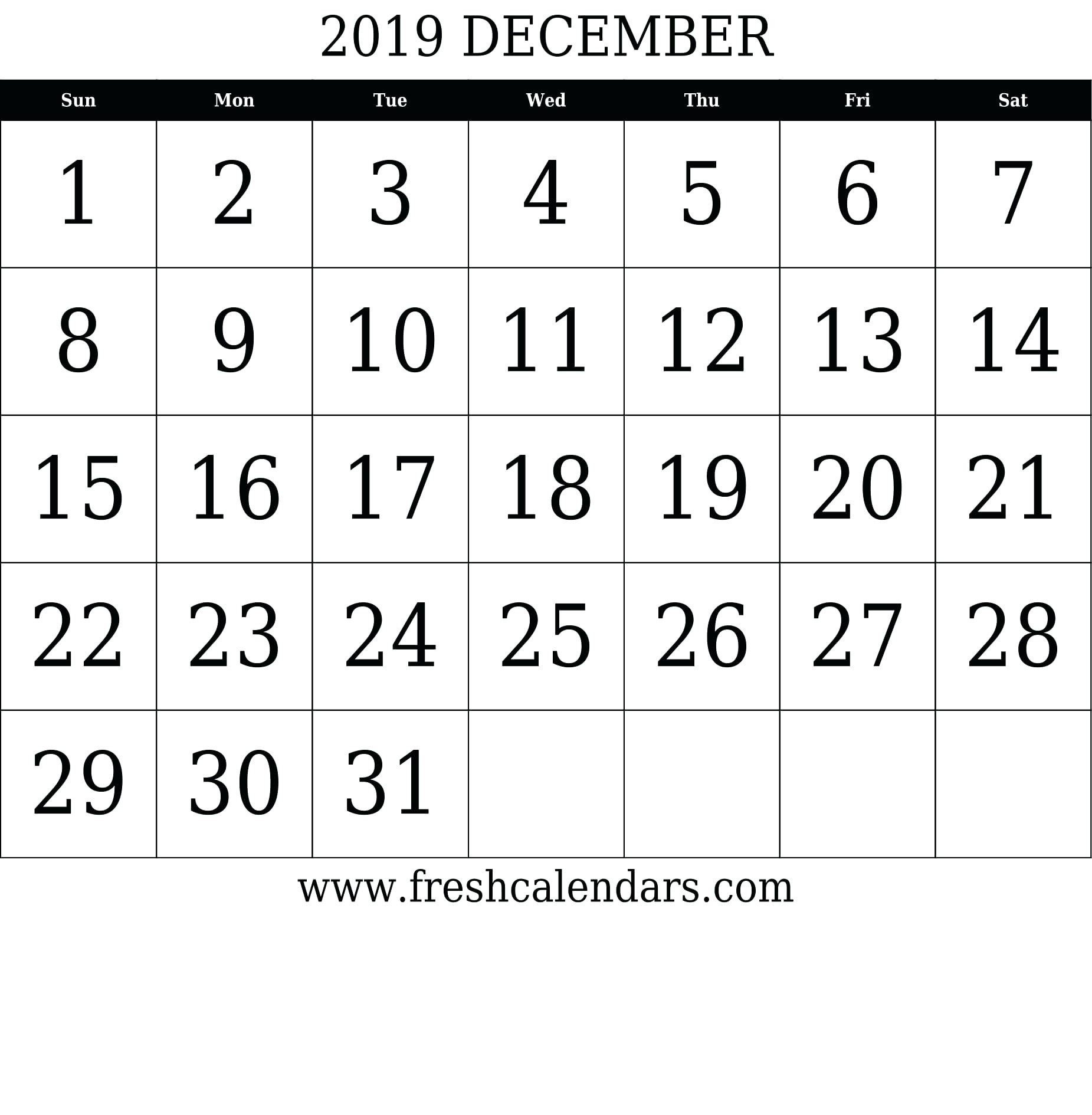 August 2019 - Template Calendar Design 31 Day Blank Calendar Printable