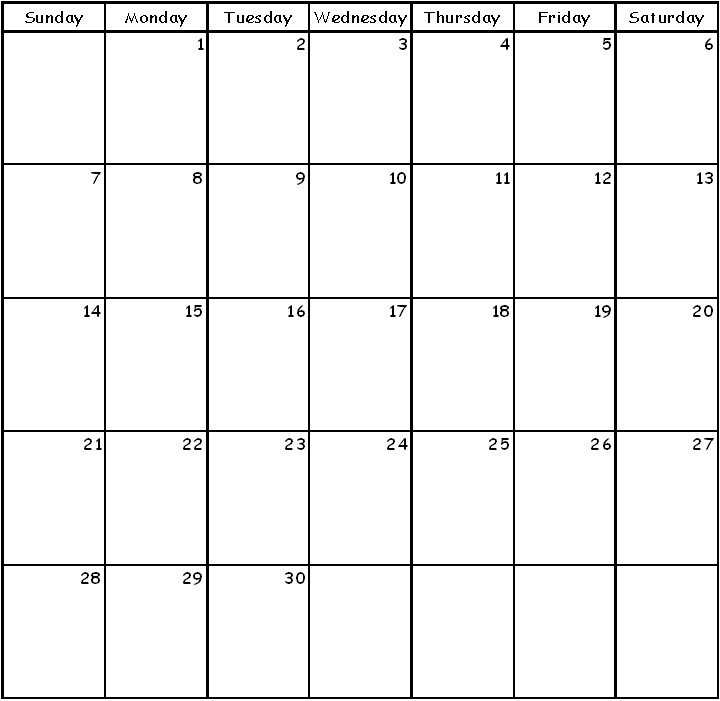 Awesome Blank 30 Day Calendar Printable   Free Printable Blank 30-Day Calender Printable