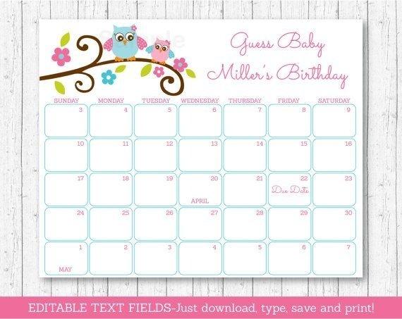 Baby Calendar Free Guess | Printable Calendar Template 2021 Baby Calendar Free Guess