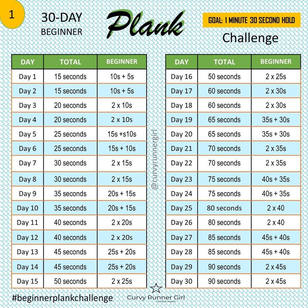 Beginner'S Plank Challenge — Curvy Runner Girl Printable 30 Day Plank Challenge