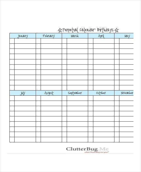 Birthday Calendar - 14+ Free Word, Pdf, Psd Documents Free Editable Birthday Calendar