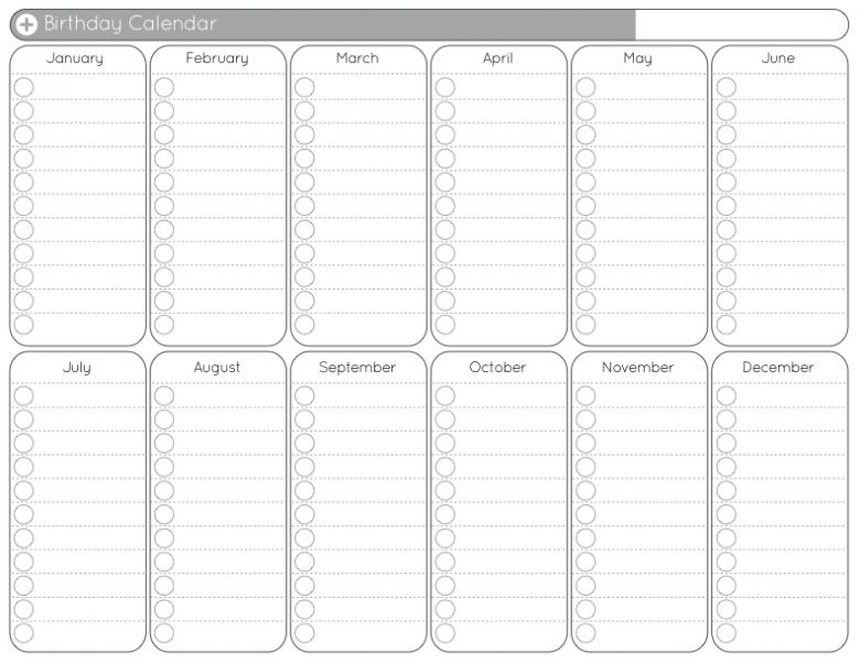Birthday Calendar Free Printable Template :-Free Calendar Perpetual Birthday And Anniversary Calendar Printable