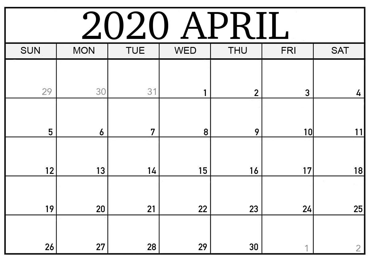 Blank April 2020 Calendar   Printable Calendar Template 8X5 Monthly Calendar Print Outs