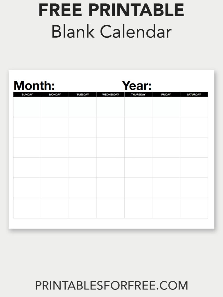 Blank Calendar (Monthly - Sunday Start | Blank Calendar Online Calendar Fill In