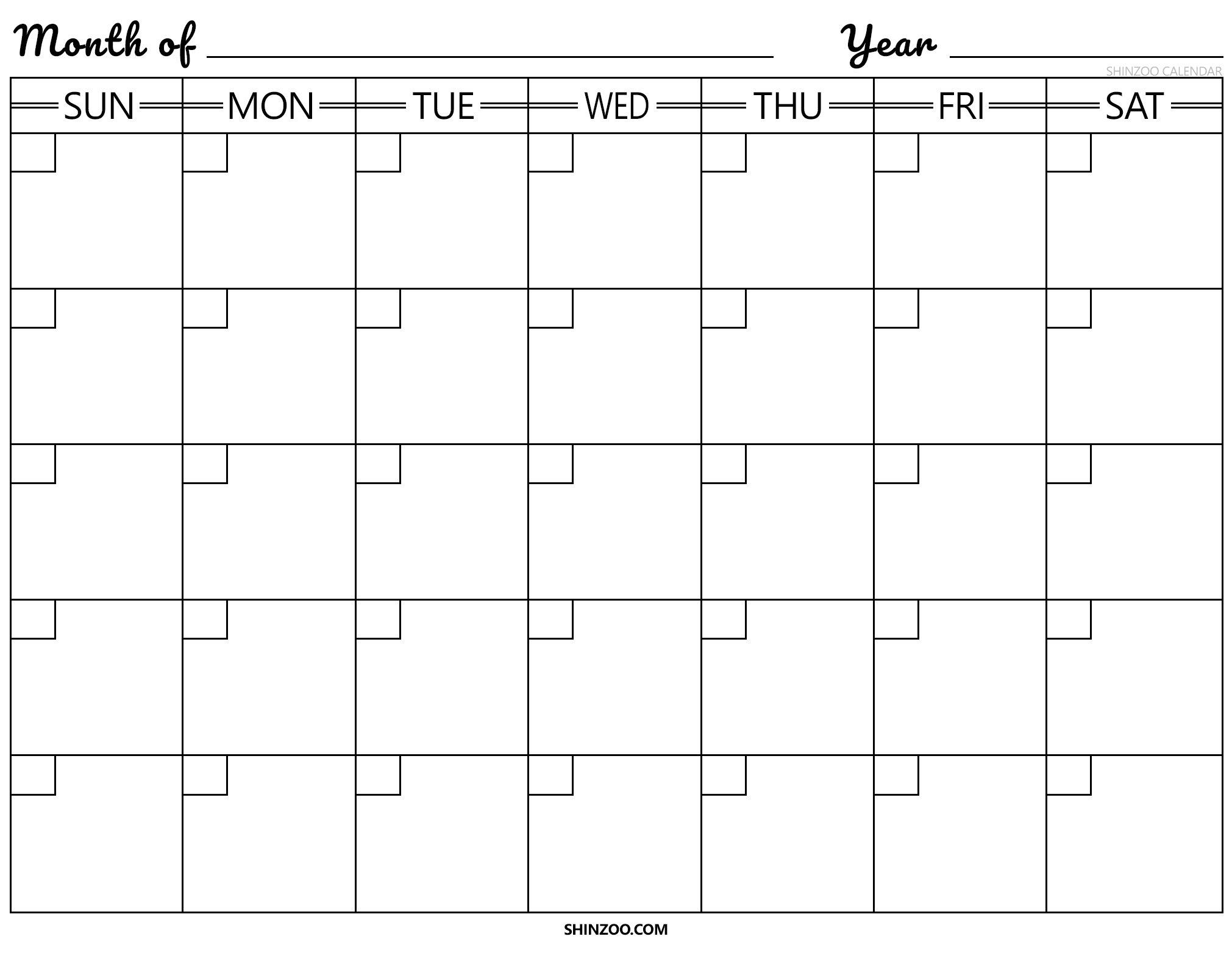 Blank Calendar Template 2019 2020 Printable Large Square Calendar Template