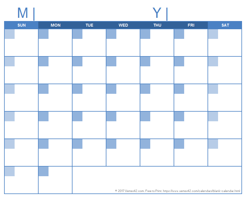 Blank Calendar Template - Free Printable Blank Calendars 31 Day Blank Calendar Printable