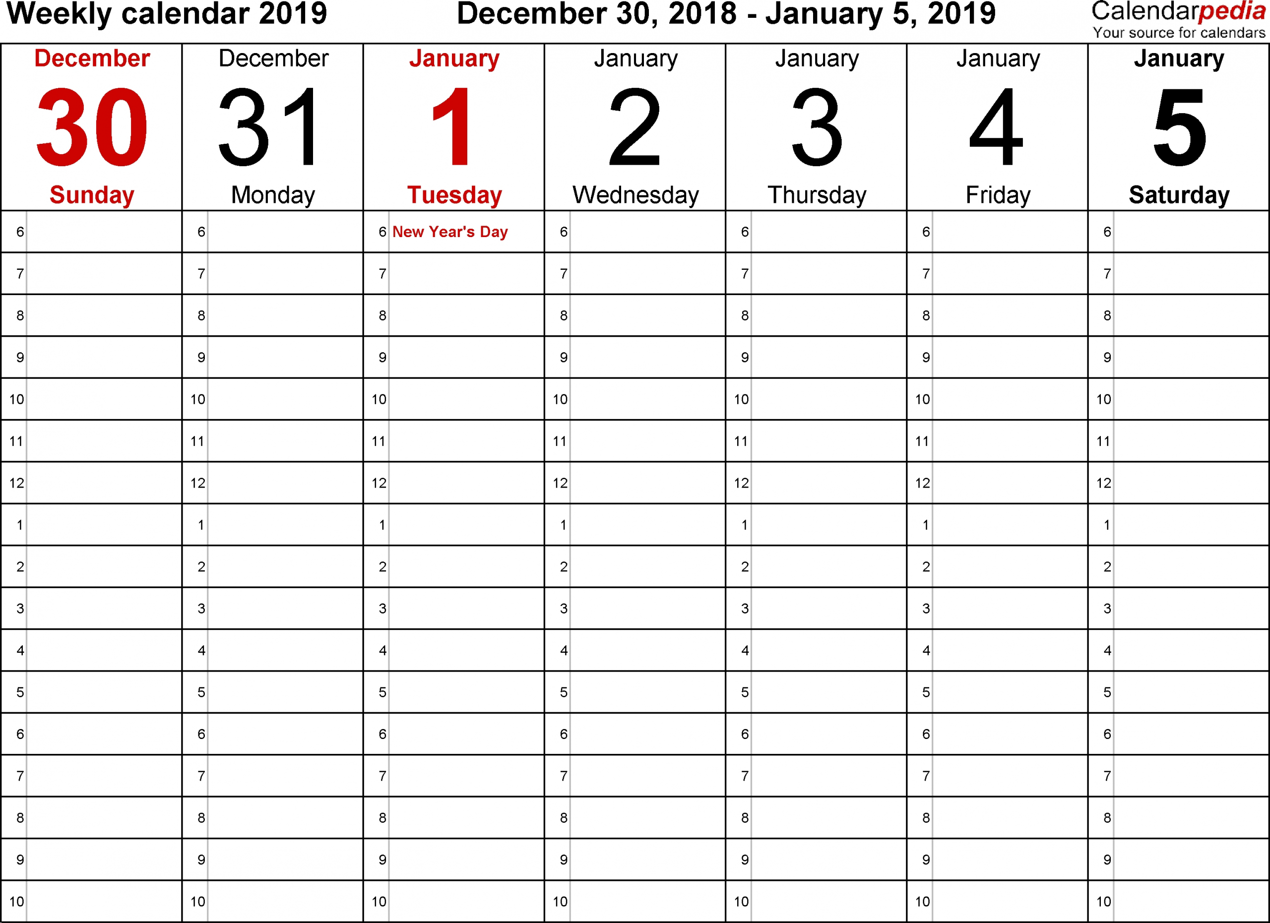 Blank Calendars To Print With Time Slots - Calendar Free Weekly Planner With Time Slots