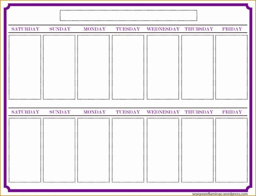 Blank Calender Two Weeks | Calendar Template Printable Create 2 Week Schedule