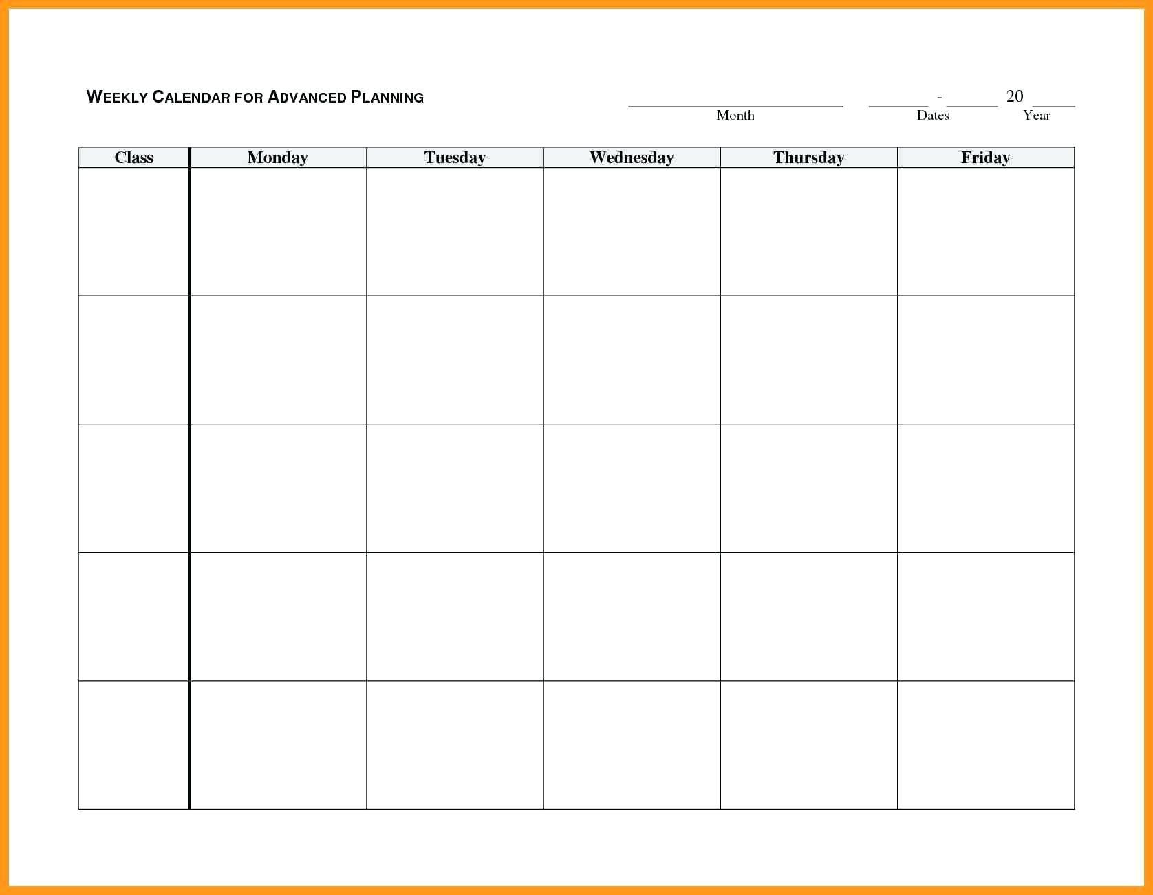 Blank Monday Through Friday Calendar | Example Calendar Monday Through Friday Calendar Printable
