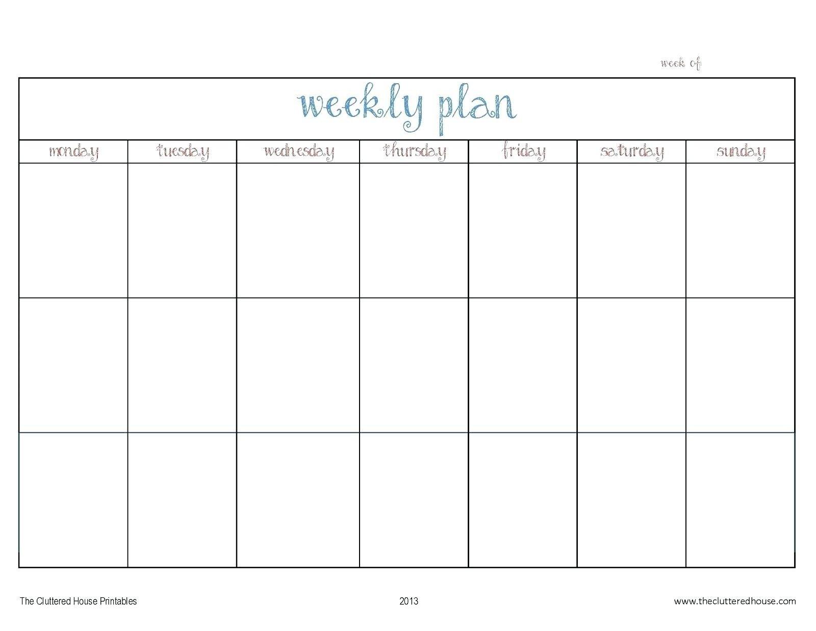 Blank Monday Through Friday Calendars | Calendar Template Monday-Friday Calandar With Lines Printable