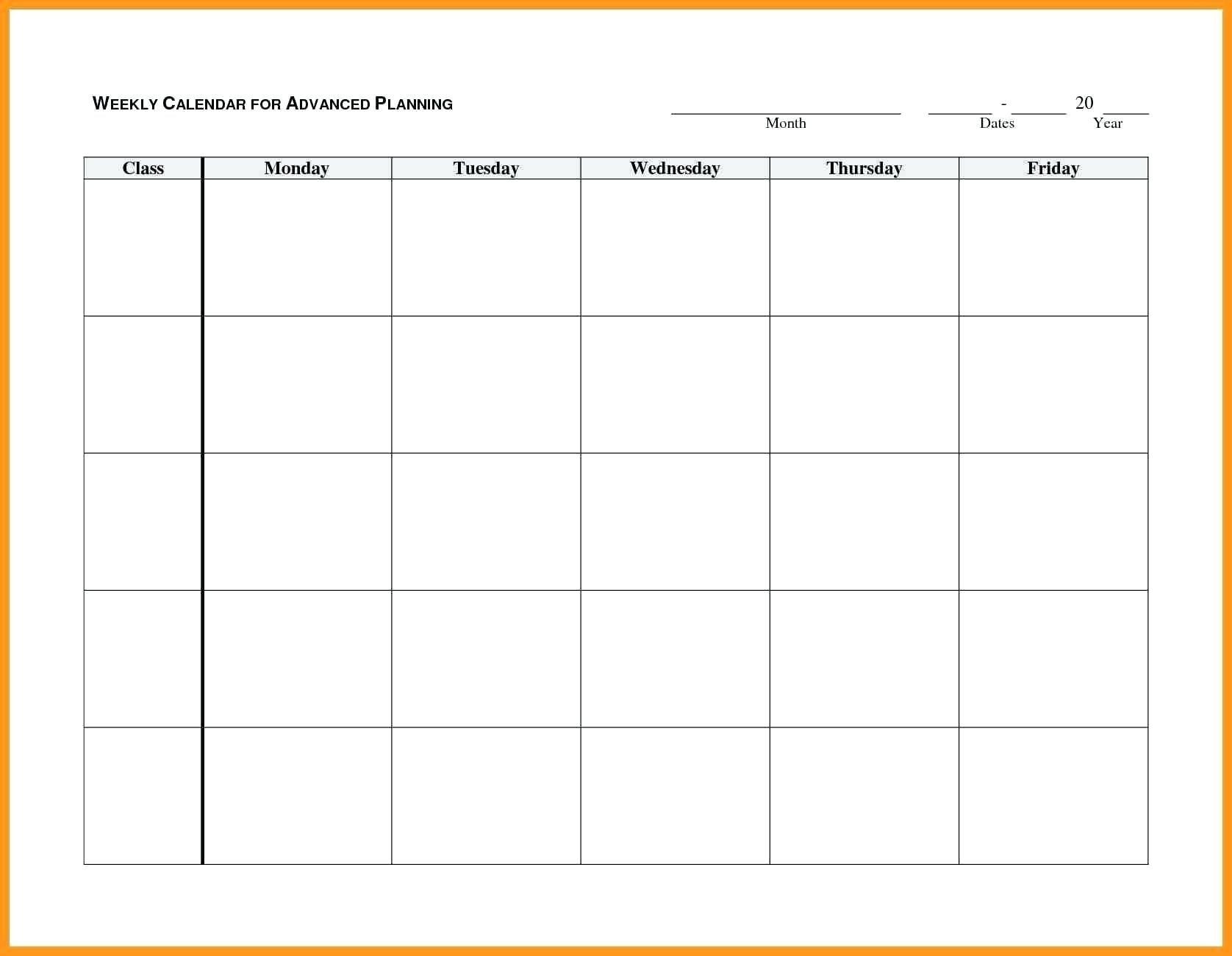 Blank Monday Through Friday Month Calendar Template :-Free Monday To Friday Calender Template