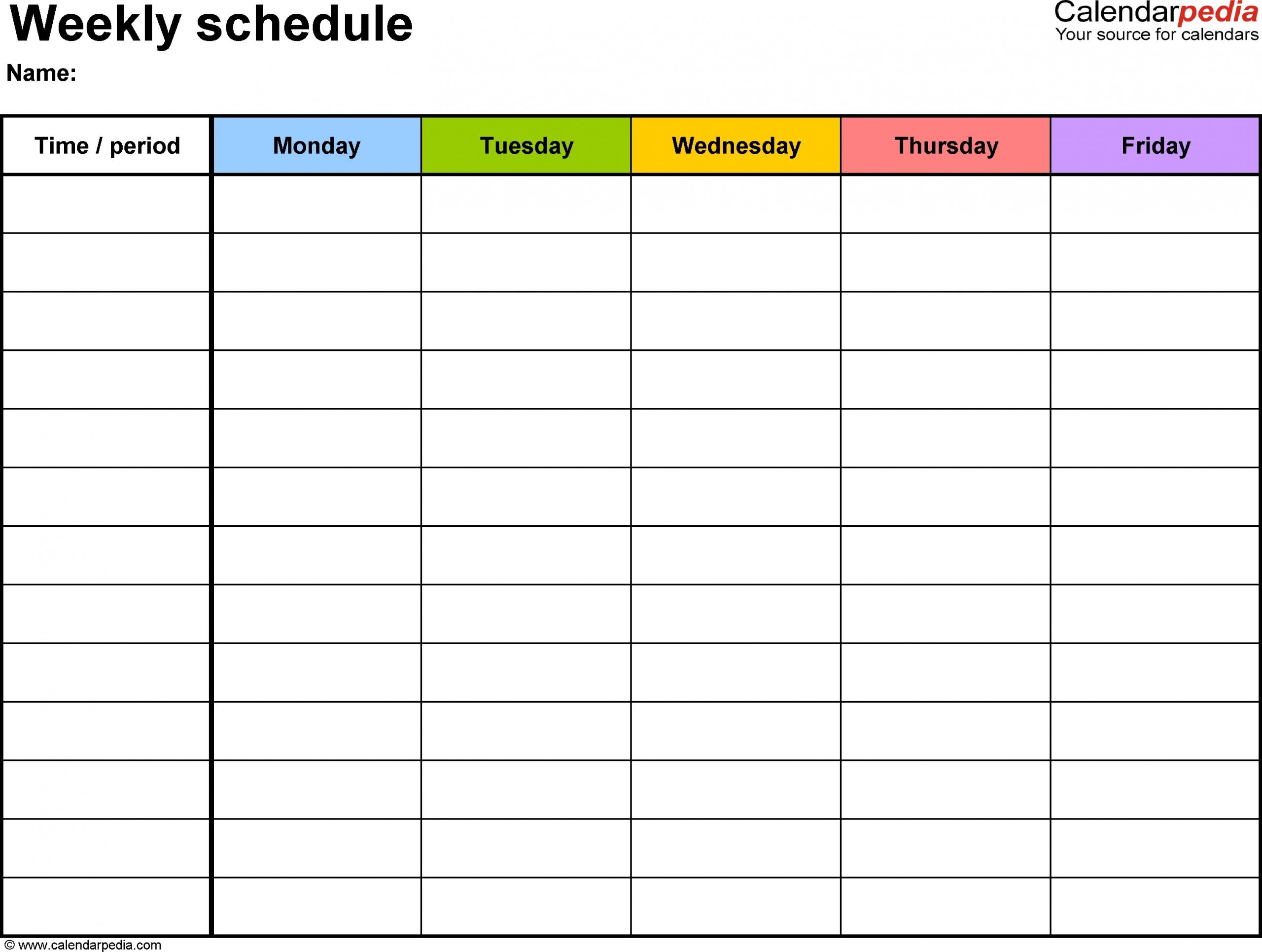 Blank Monday Through Friday Template | Ten Free Printable Printable Schedule Mon To Friday