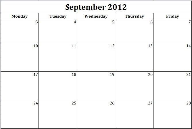 Blank Printable Calendar Monday Thru Friday :-Free Blank Calendar Template Monday Friday