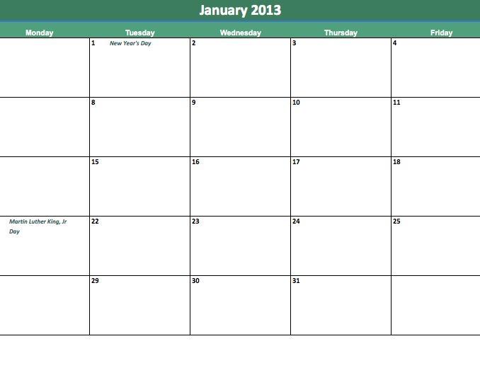 Blank Printable Calendar Monday Thru Friday :-Free Downloadable Monday To Friday Calendar