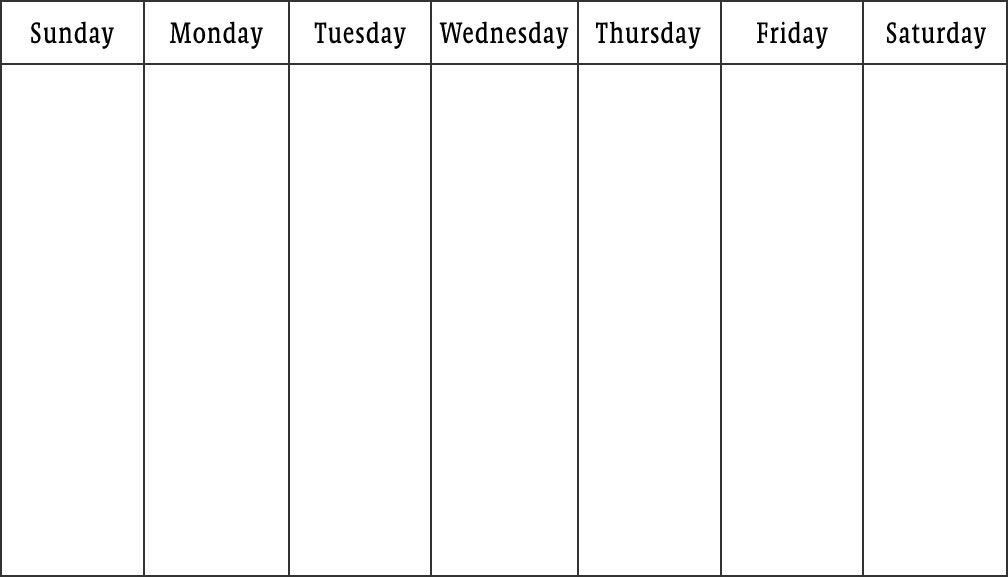 Blank Saturday To Friday :-Free Calendar Template Sunday Through Saturday Planner