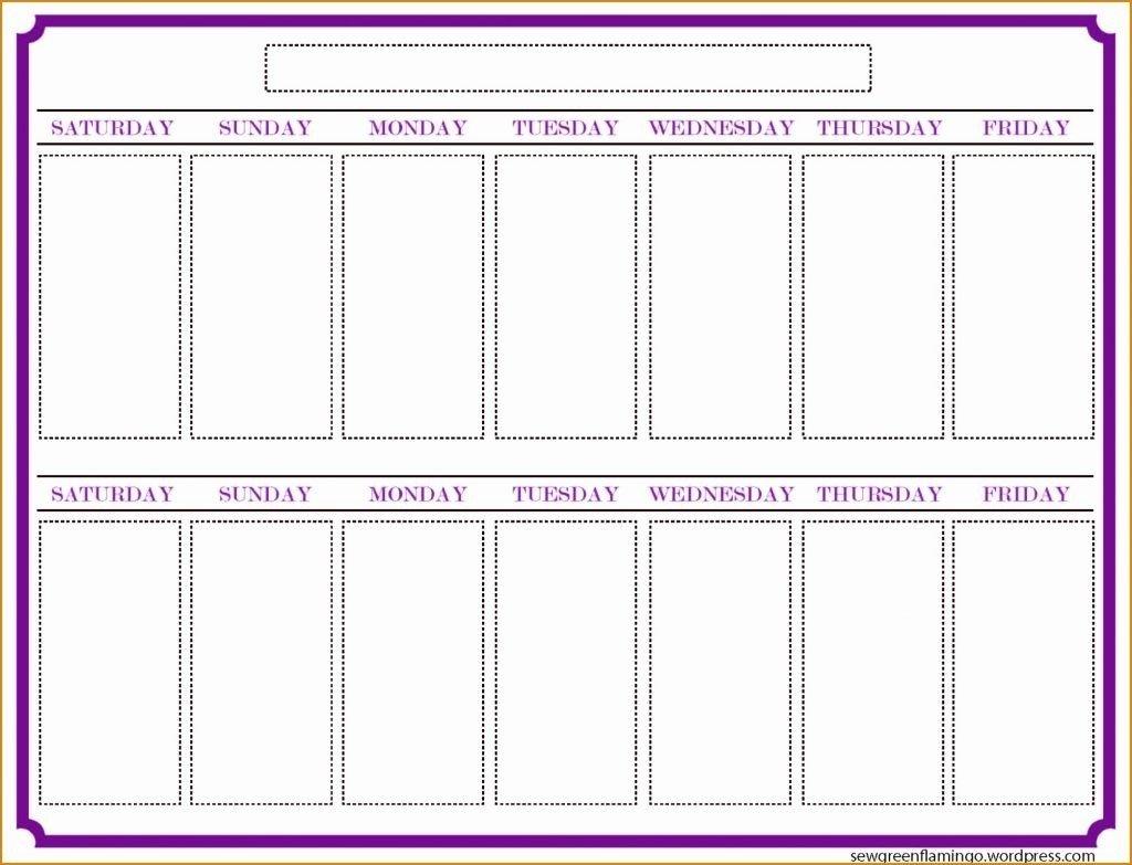 Blank Two Week Calendar Template - Calendar Inspiration Design Blank 2 Week Schedule Template