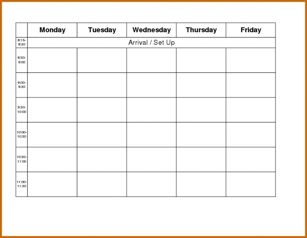 Blank Weekly Calendar Monday To Friday - Calendar Downloadable Monday To Friday Calendar