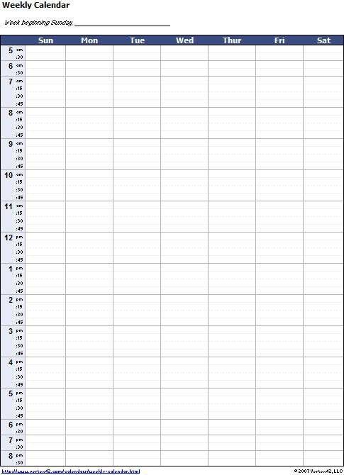 Blank Weekly Calendar Template With Times | Weekly 8 Week Calendar Pdf