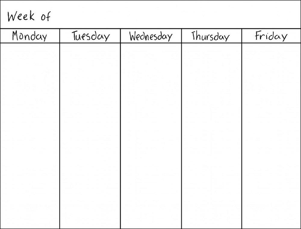 Blank Weekly Calendars Printable | Activity Shelter Weekly Calendar Monday - Friday