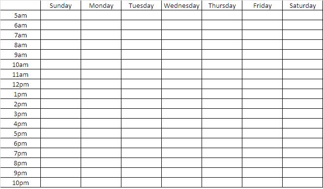 Blank Weekly Chart Template | Search Engine - Image Sample 2 Week Calendar