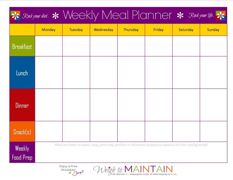 Blank Weekly Meal Plan Sheet | Weekly Meal Planner 7 Day Week Blank Timetable