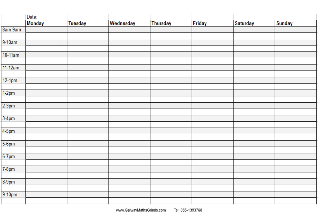 Blank+Weekly+Calendar+Template+With+Times | Timetable Free Printable Time Management Schedules