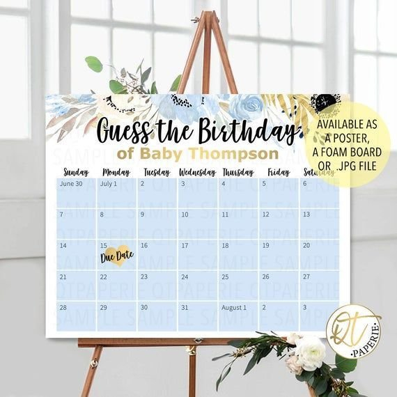 Blue Due Date Calendar, Guess The Birthday Sign, Boy Birth Baby Birth Date Guess Calender