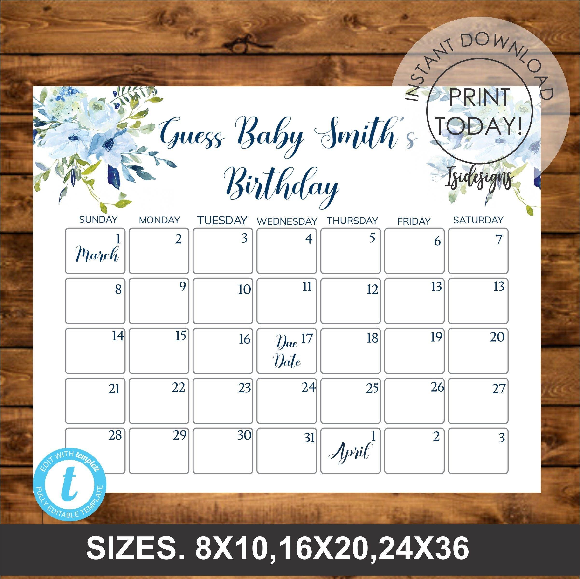Blue Floral Editable Due Date Calendar, Guess Baby Free Editable Birthday Calendar