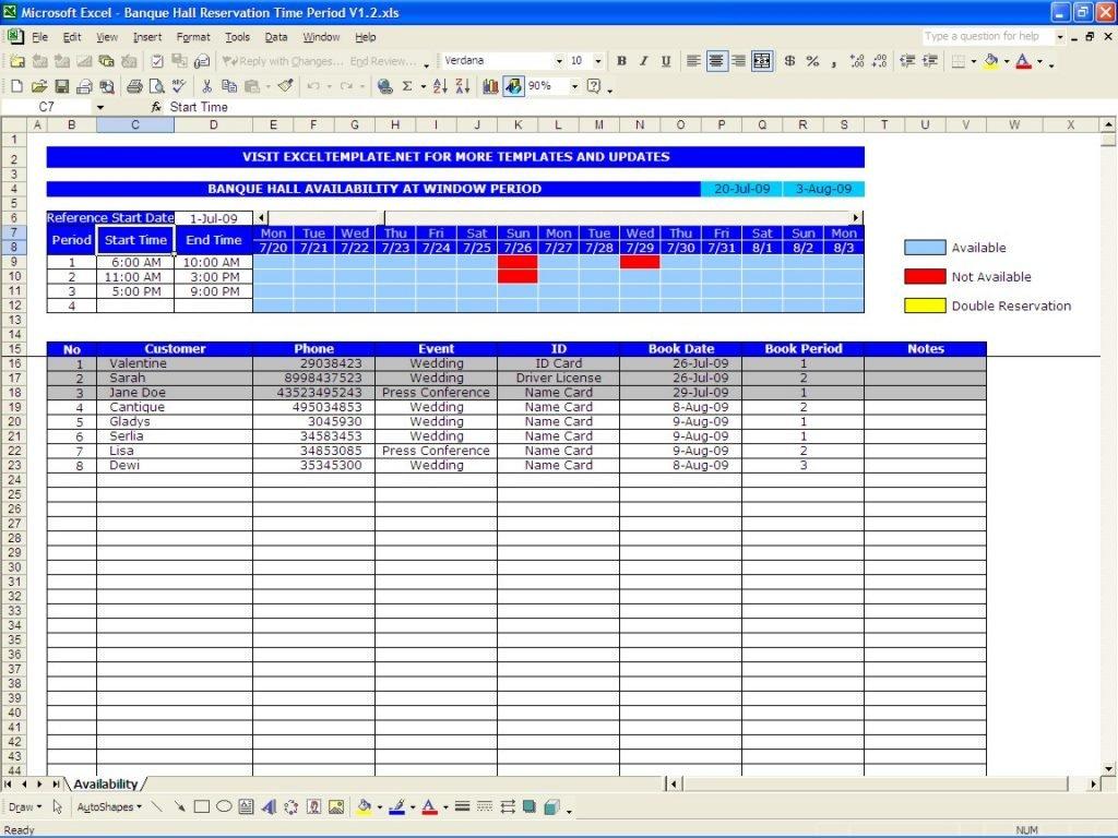 Booking Spreadsheet Template Regarding Bill Pay Calendar Reservation Calendar Template Excel