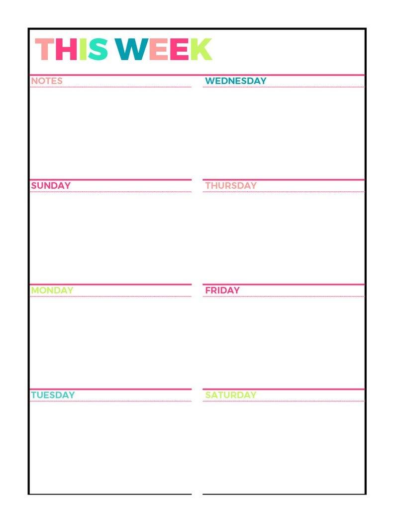 Bright Weekly Planner Printable Week On 1 Page   Etsy Calendar Week On On Page