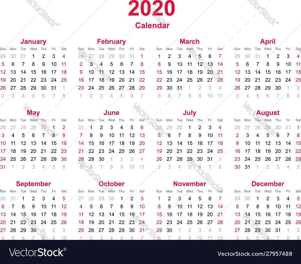Calendar 2020 - 12 Months Yearly Calendar Vector Image Updateable 12 Month Calendar - Free