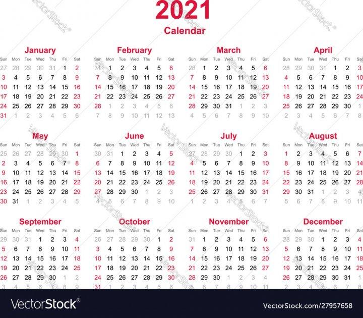 Calendar 2021 Vector Image - Nohat - Free For Designer Calendar With Number Days 365