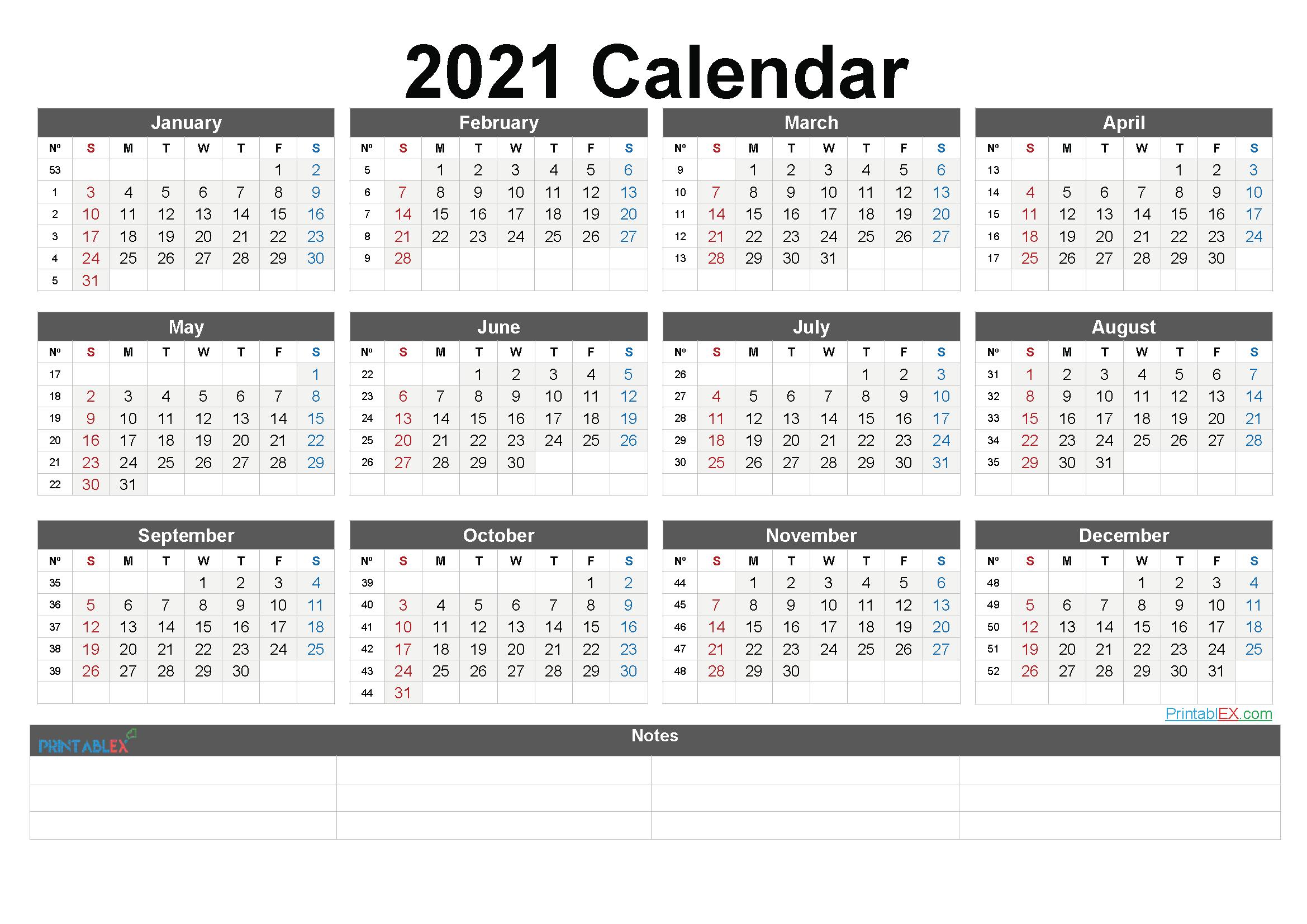 Calendar 2021 Weeks - United States Map Weekly Numbered 52 Week Calendar Printable