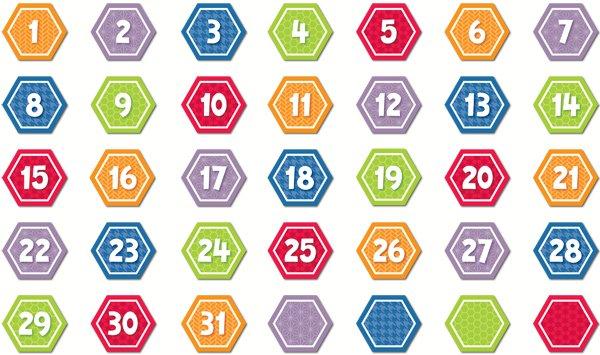 Calendar Days : Hexafun Hexagon Calendar Days Printable Calendar Numbers 1 31