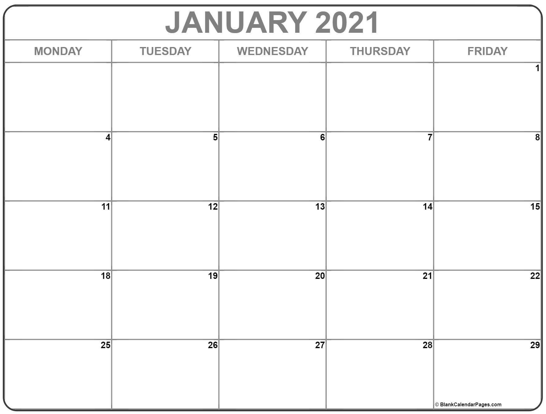 Calendar Monday Through Friday 2021 - Example Calendar Free Printable Calendars By Month Monday Through Sunday