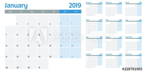 """Calendar Planner 2019 Template Vector Illustration All 12 One Week Monday Through Saturday Communication Calendar"