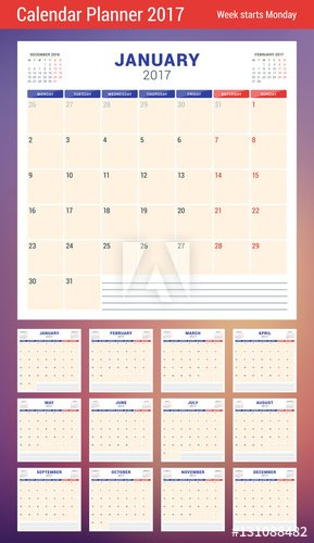 Calendar Planner Template For 2017 Year. Week Starts Calendar Week On On Page