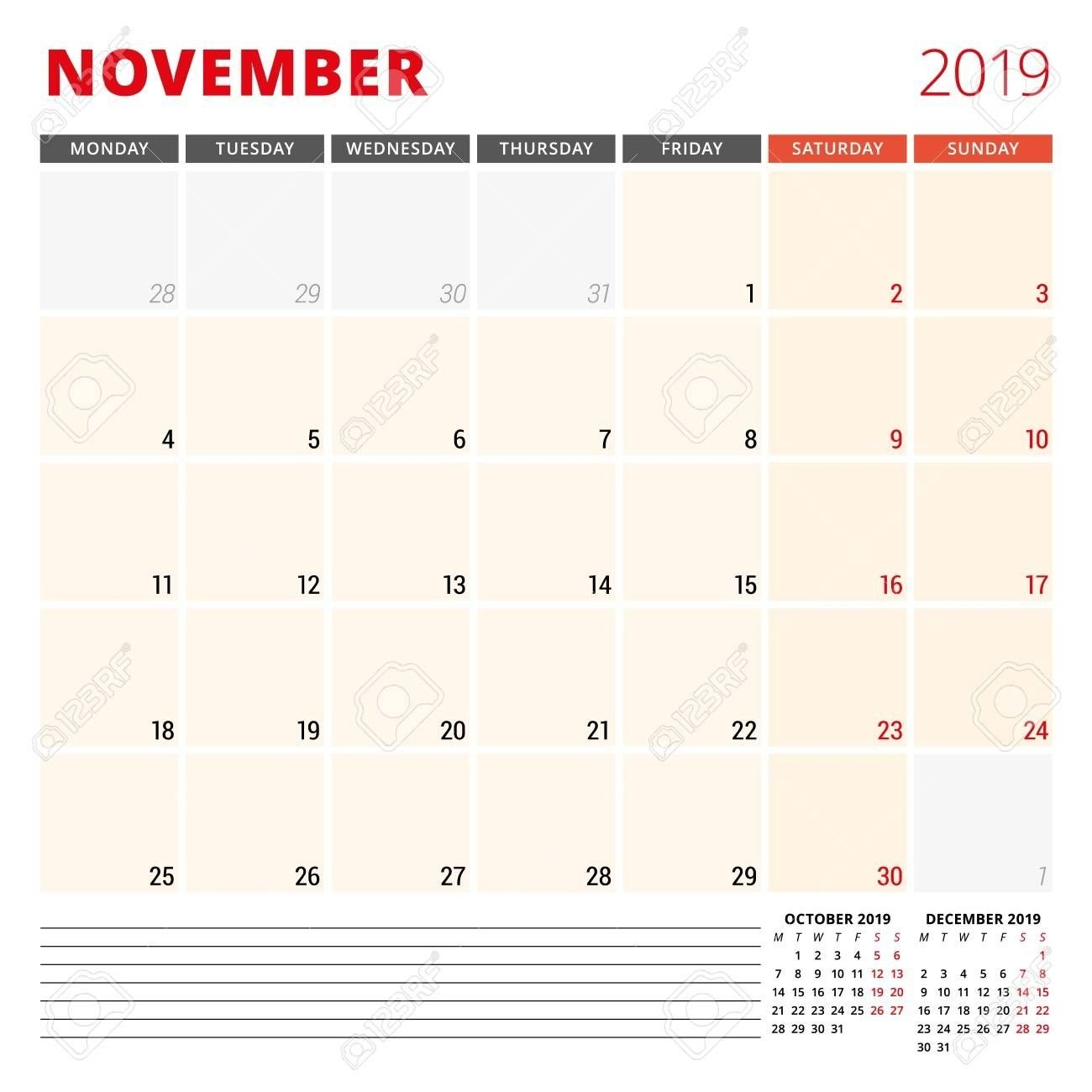 Calendar Planner Template For November 2019. Week Starts One Week Monday Through Saturday Communication Calendar