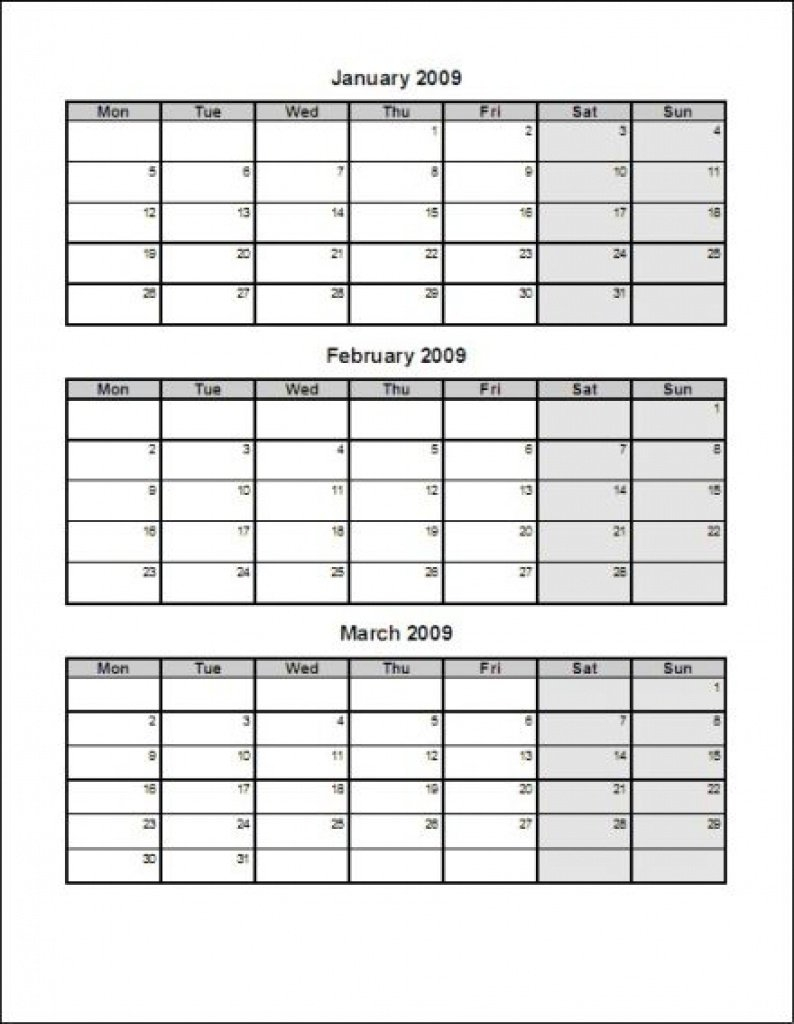 Calendar Template 3 Months Per Page Time And Date Printable 3 Month Calendar