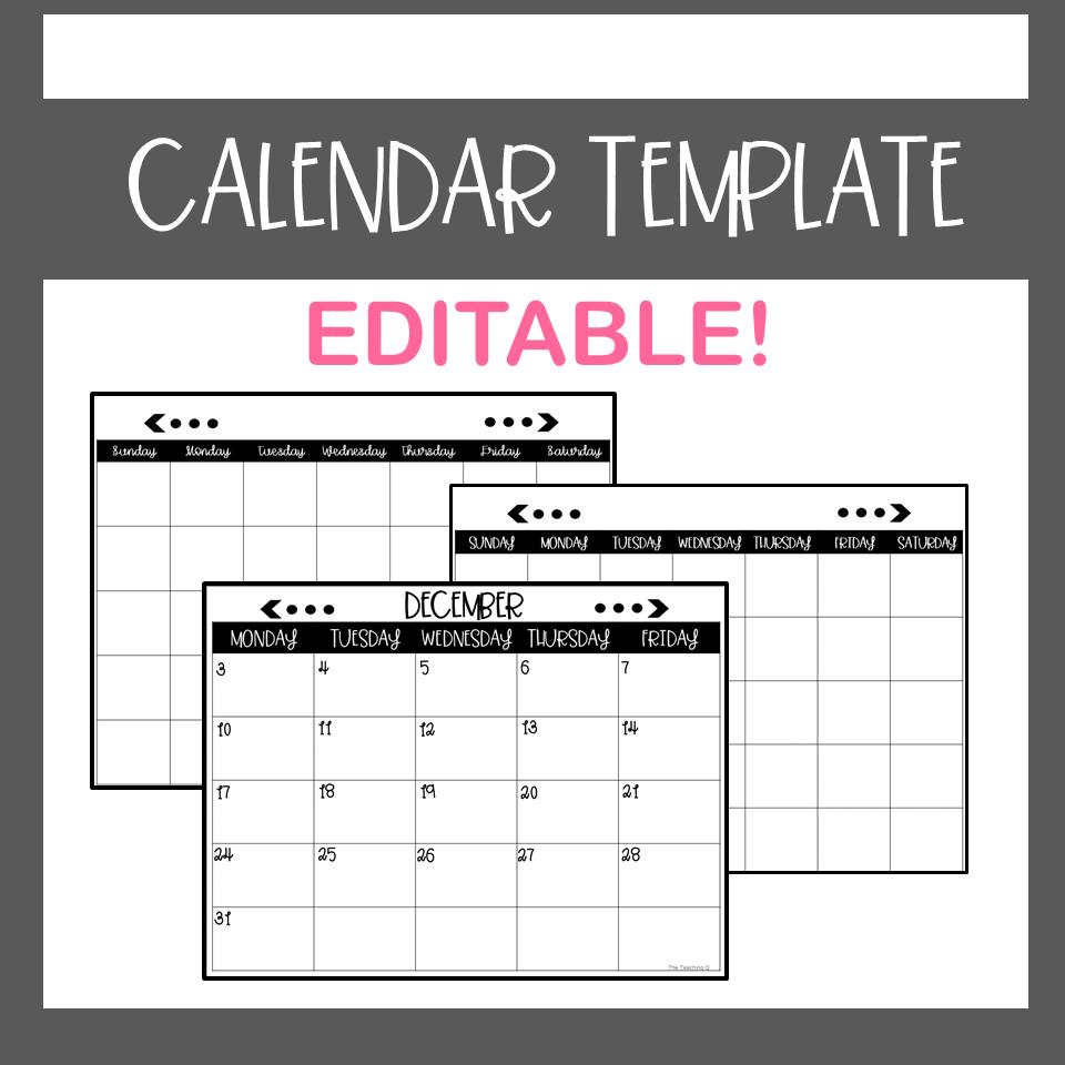 Calendar Template-Editable (With Images) | Calendar Free Calendar Templates For Teachers