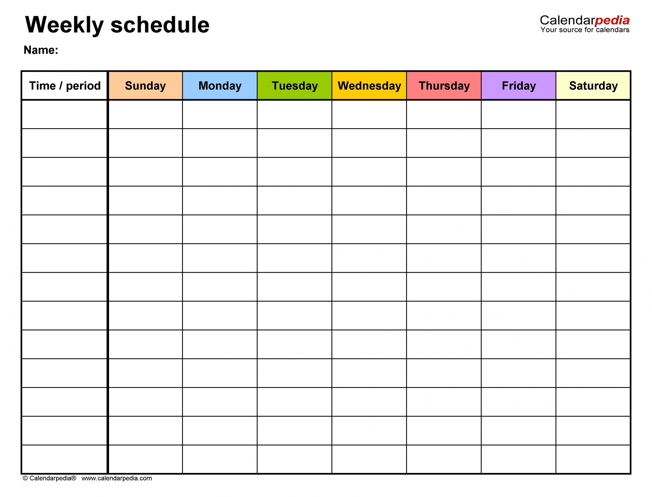 Calendar Week Format Excel   Ten Free Printable Calendar One Week Schedule Printable