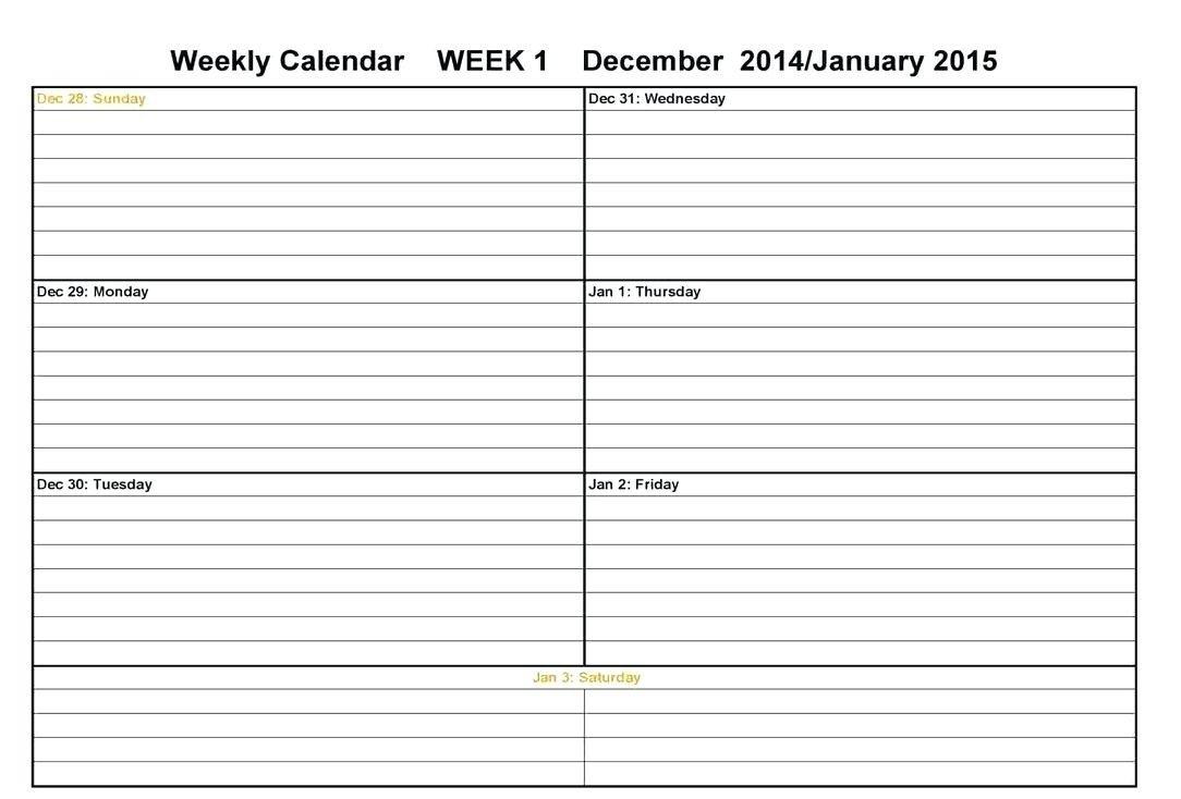 Calendar Week On A Page   Calendar Printables Free Templates Two Week Calendar Form