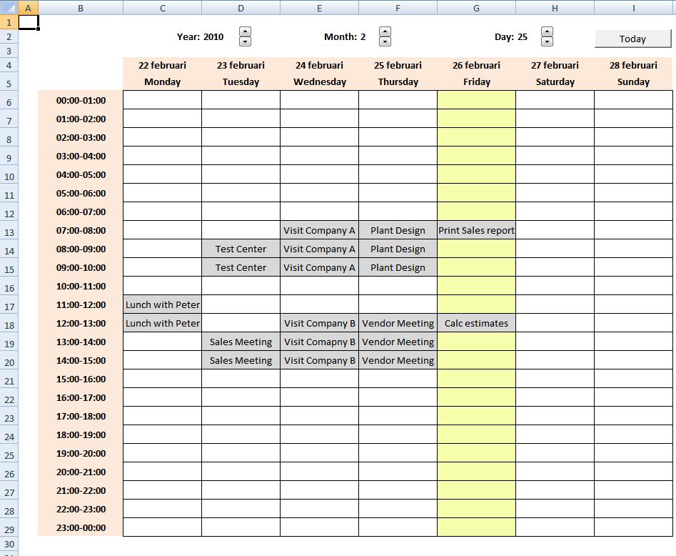 Calendar With Scheduling [Vba] Create A Two Week Calendar