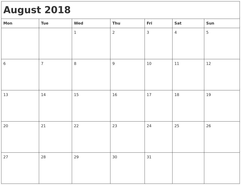 Calendarmonth Monday To Friday - Template Calendar Design Free Monthly Printable Calendar Monday Through Friday