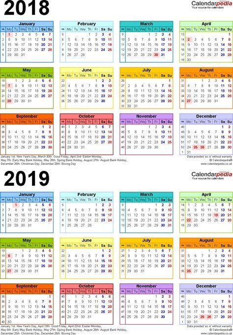 Calendars, 2018, 2019, Two-Year, Free Download. Other Multiple Year Printable Calendar