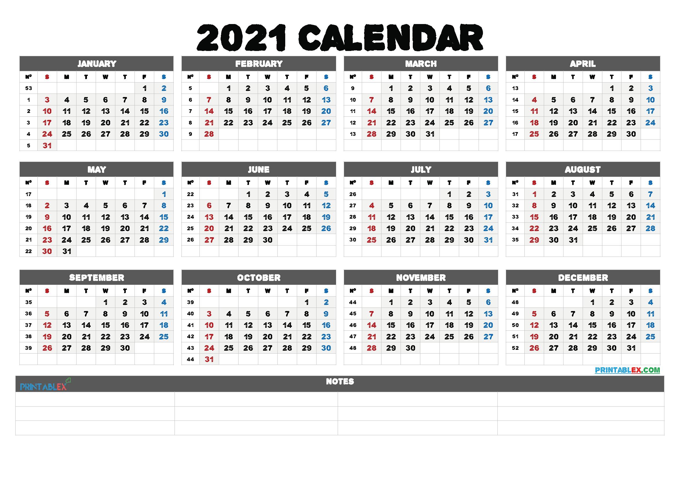 Calendarweek Number 2021 | Calendar 2021 Weekly Numbered 52 Week Calendar Printable