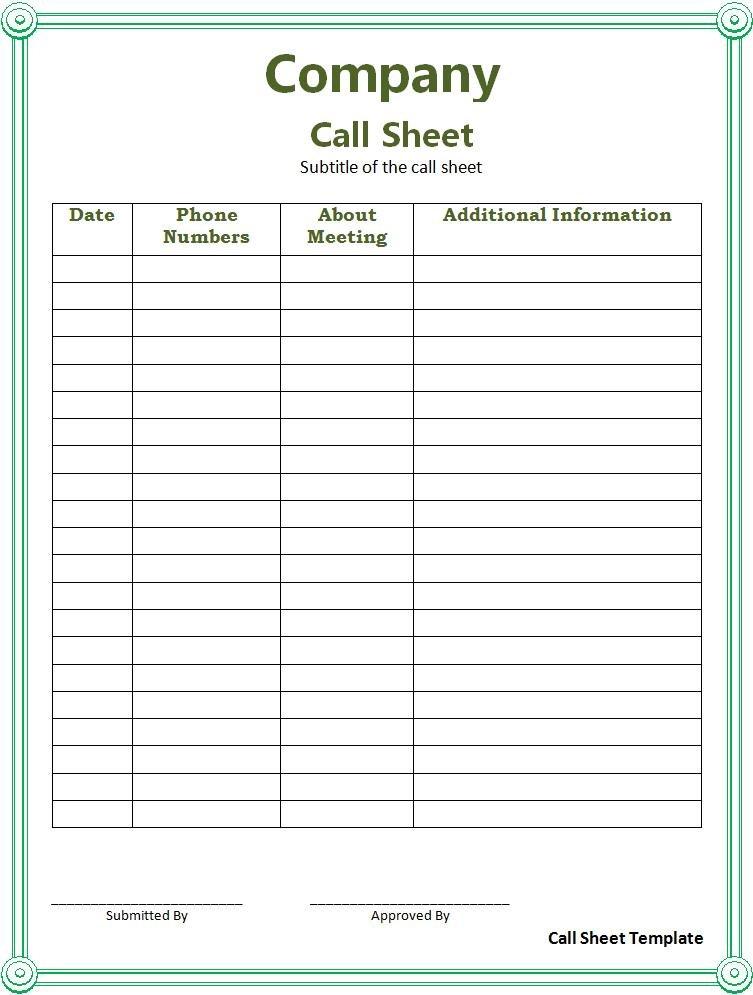 Call Sheet Template | Free Printable Word Templates On Call Calendar Template