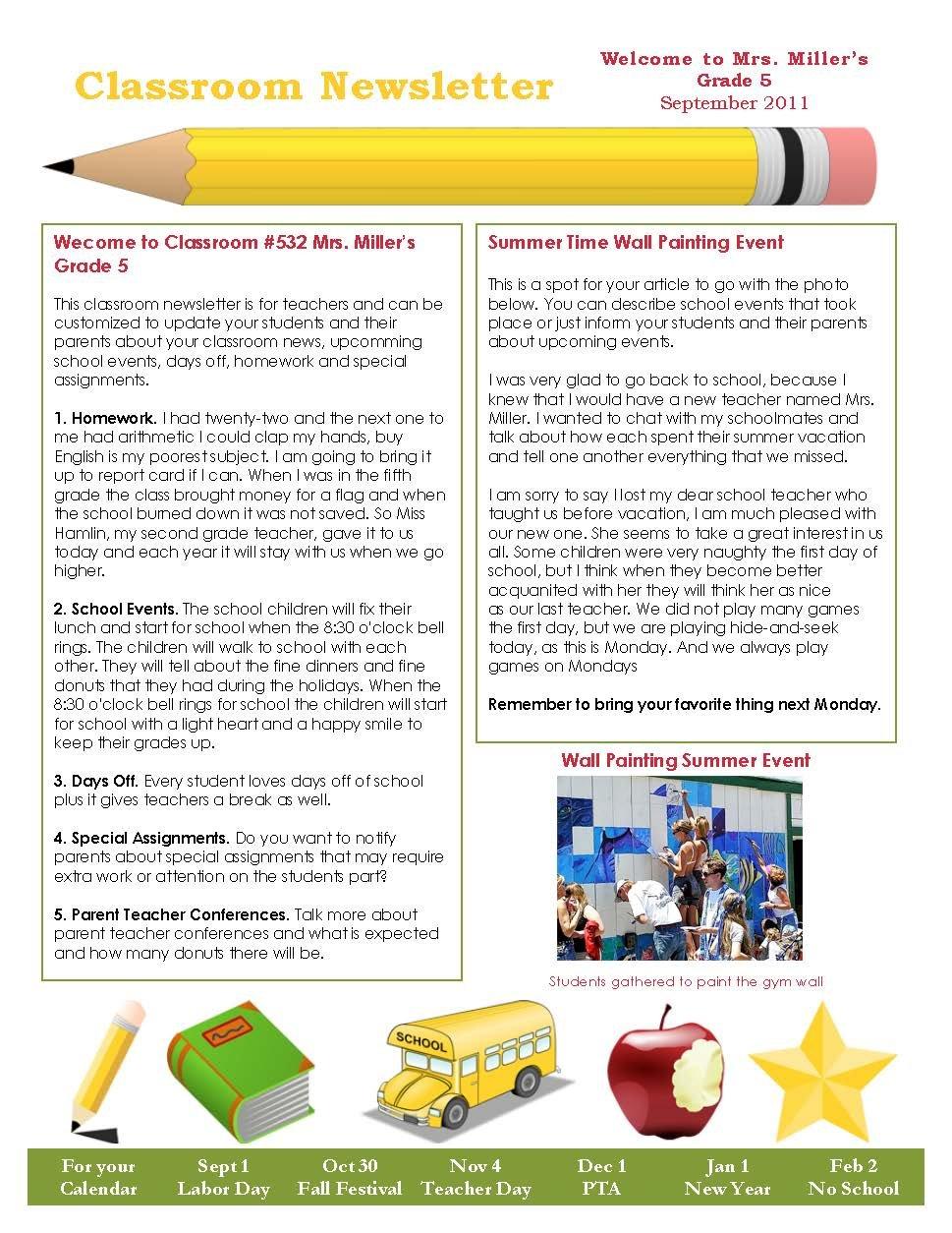 Classroom Newsletter Template - Pdf Format | E-Database E Newsletter Content Plan Template